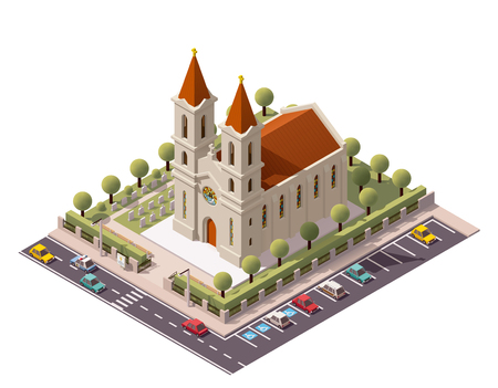 cemeteries: Vector isometric church building icon