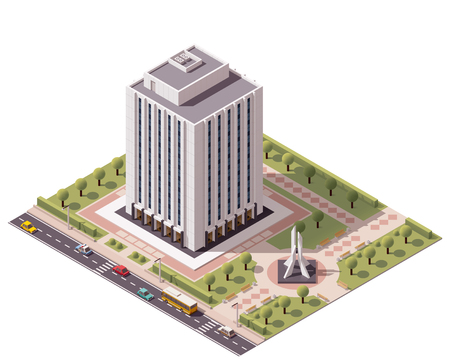 the city park: Isometric icon set representing office building
