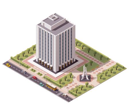 headquarter: Isometric icon set representing office building
