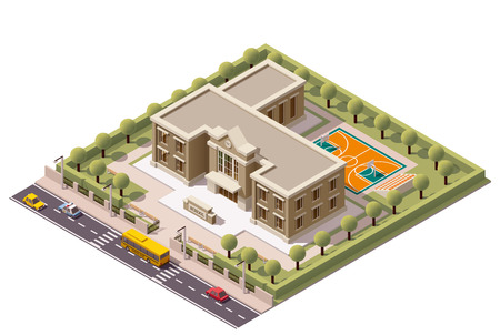 building: Vector isometric school or university building icon