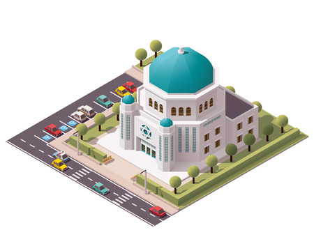 jews: Vector isometric synagogue building icon