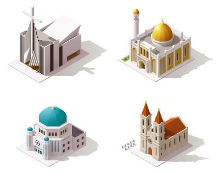 church: Vector templos isométricos icono de la construcción