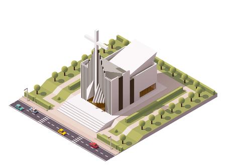 Vector isometrisch modern kerkgebouw icon