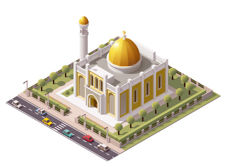 ベクトル等尺性のモスクの建物のアイコン