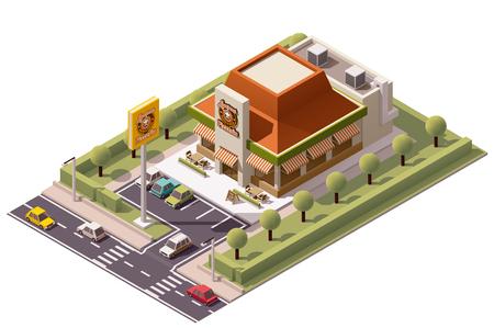 restaurante italiano: Vector icono edificio pizzería isométrica