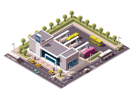 passenger buses: Icono isométrico que representa terminal de autobuses