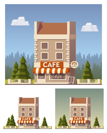 overhang: Vector flat cafe building icon