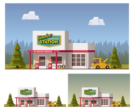 ベクトルのフラット車サービスの建物のアイコン  イラスト・ベクター素材