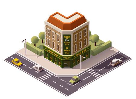 fachada: Vector icono edificio pub isométrica Vectores