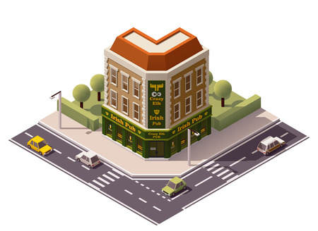 house facades: Vector isometric pub building icon