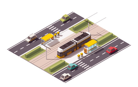 tramway: Isometric icon representing tramway station
