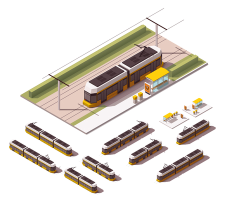 streetcar: Isometric set representing tramway in different views