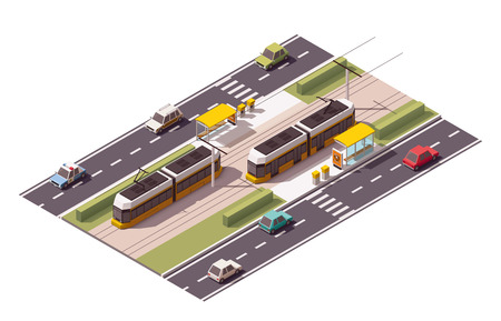 tramcar: Isometric icon representing tramway station