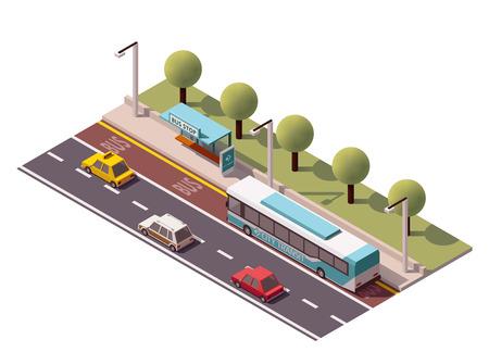 bus stop: Icono isom�trico en representaci�n de la parada de autob�s