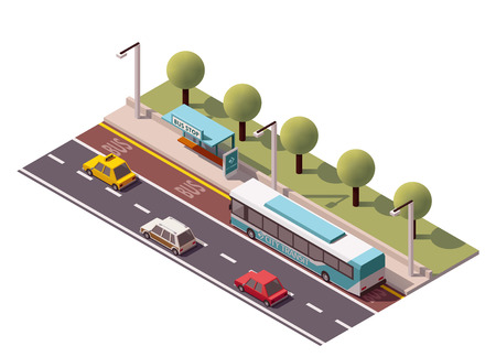 bus stop: Isometric icon representing bus stop