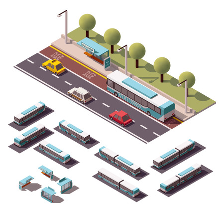 bus station: Vector isometric bus stop