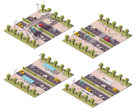 semaforo peatonal: Vector pasos de peatones isométrica establecen