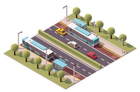Icono isométrico en representación de la parada de autobús