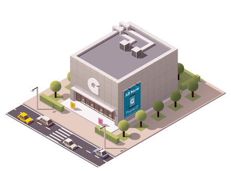 store front: Vector isometric gadget store building icon Illustration