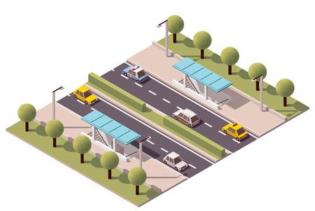 Isometrische metro kruising onder de snelweg Stock Illustratie