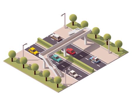 semaforo peatonal: Pasarela isométrico sobre la autopista