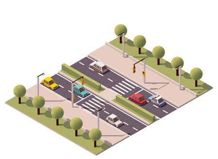 lights: Isometric zebra crossing on the highway