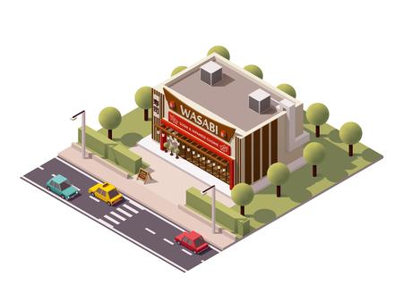 restaurant food: Vector isometric sushi bar building icon