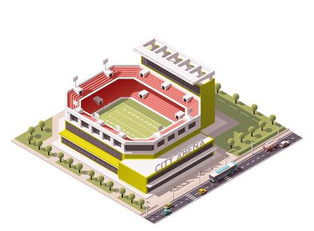 campeonato de futbol: Icono isom�trico en representaci�n de campo de f�tbol americano Vectores