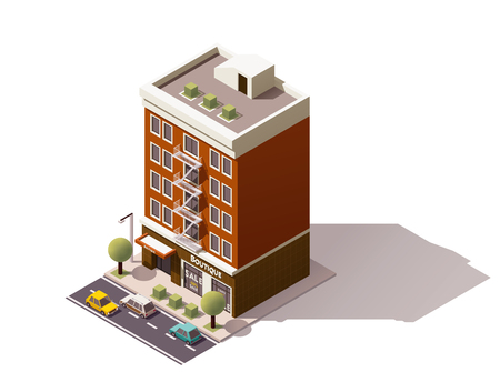 representing: Isometric icon representing town building
