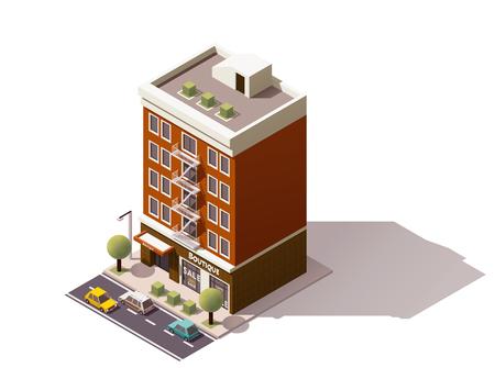 Isometrisch pictogram van de stad gebouw