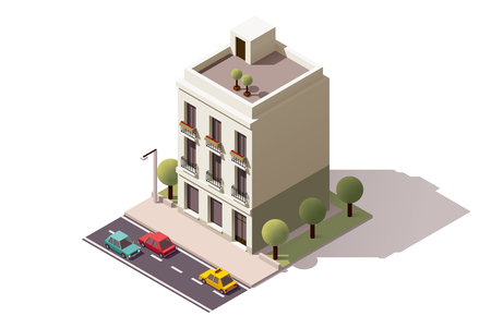 Isometric icon representing town building