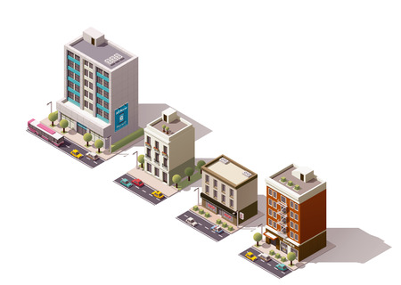 headquarter: Set of the isometric town buildings