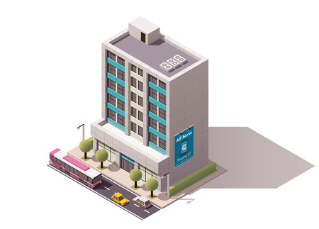 city buildings: Isometric icon representing office building
