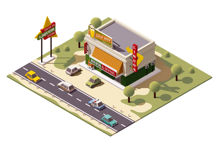 Vector isometric liquor store building Illustration