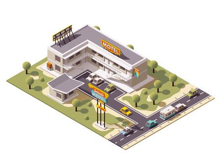 motel: Vector isometric motel building icon