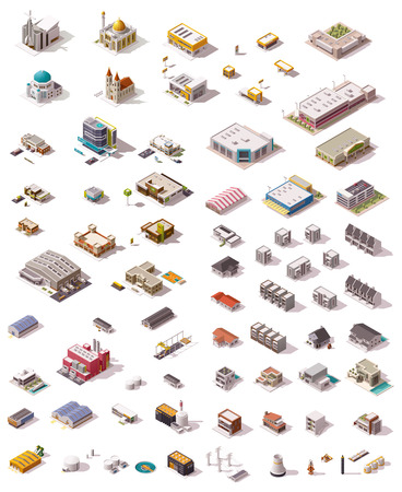 school illustration: Big set of the isometric buildings