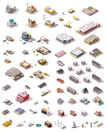 building: Gran conjunto de los edificios isométricos