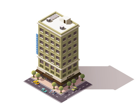 city buildings: Isometric icon representing building with jewelry store