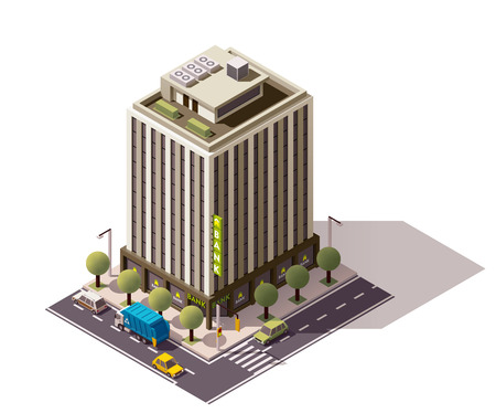 bank branch: Isometric icon representing building with bank office Illustration