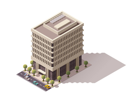 representing: Isometric icon representing apartment building