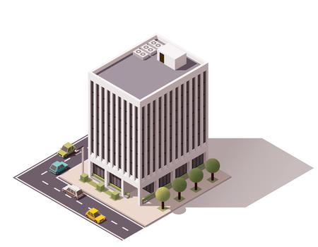 都市の建物を表す等尺性のアイコン