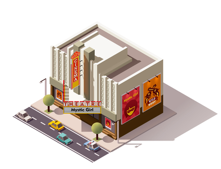building construction: Vector isometric movie theater building icon Illustration