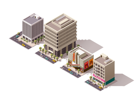 small business building: Set of the isometric town buildings