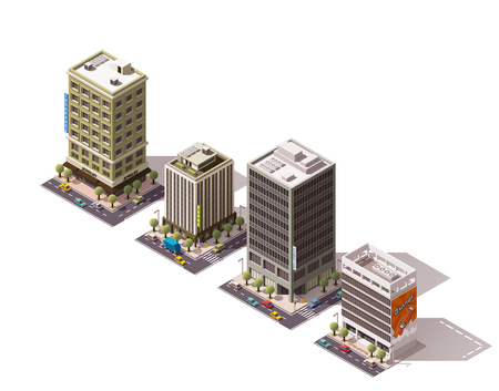 house building: Set of the isometric town buildings