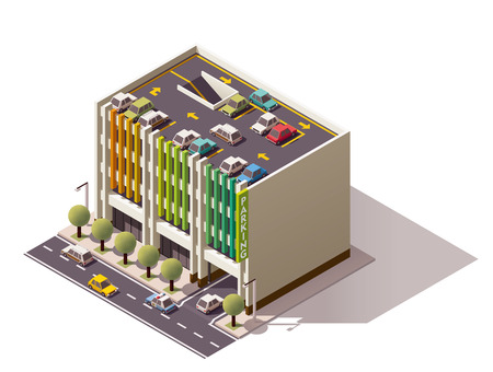 garage on house: Isometric icon representing multi-storey car park Illustration