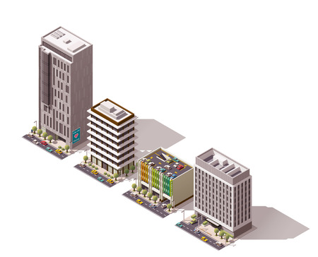 city buildings: Set of the isometric town buildings