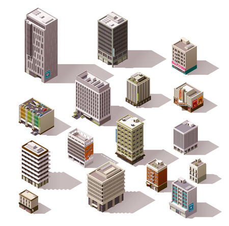 retail store: Set of the isometric town buildings