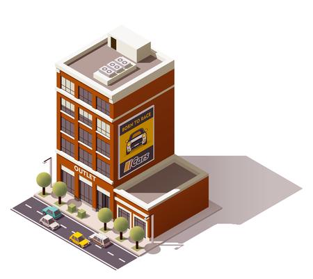 representing: Isometric icon representing city building