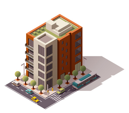 outside the house: Isometric icon representing city building