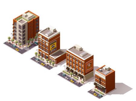 fachada: Conjunto de los edificios isométricos ciudad Vectores